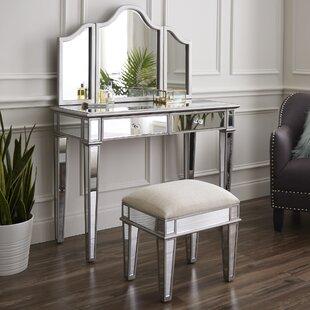 Willa Arlo Interiors Lyra 2-Piece Mirrored Vanity & Stool Set