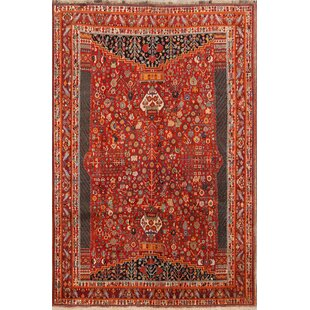 Affordable Price One-of-a-Kind Trisha Vintage Geometric Kashkoli Shiraz Persian Traditional Hand-Knotted 6'9 x 10' Wool Burgundy/Beige/Black Area Rug By Isabelline