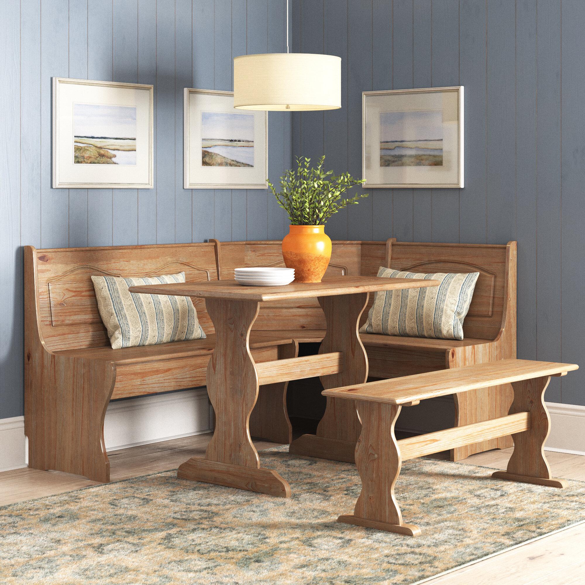 August Grove® Padstow 3 - Piece Pine Solid Wood Breakfast Nook