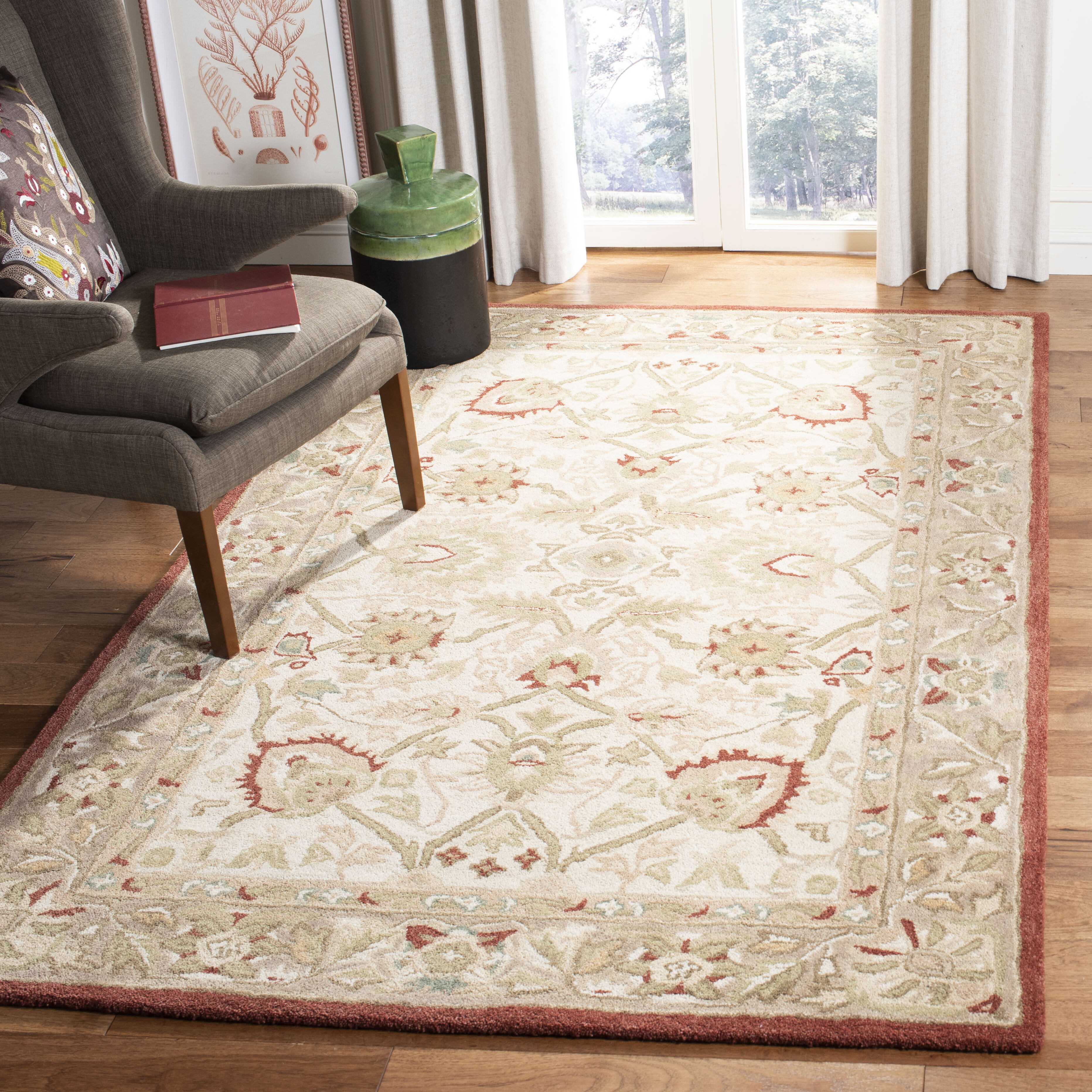 Charlton Home Tingley Hand Tufted Wool Ivory Rust Green Area Rug Reviews Wayfair
