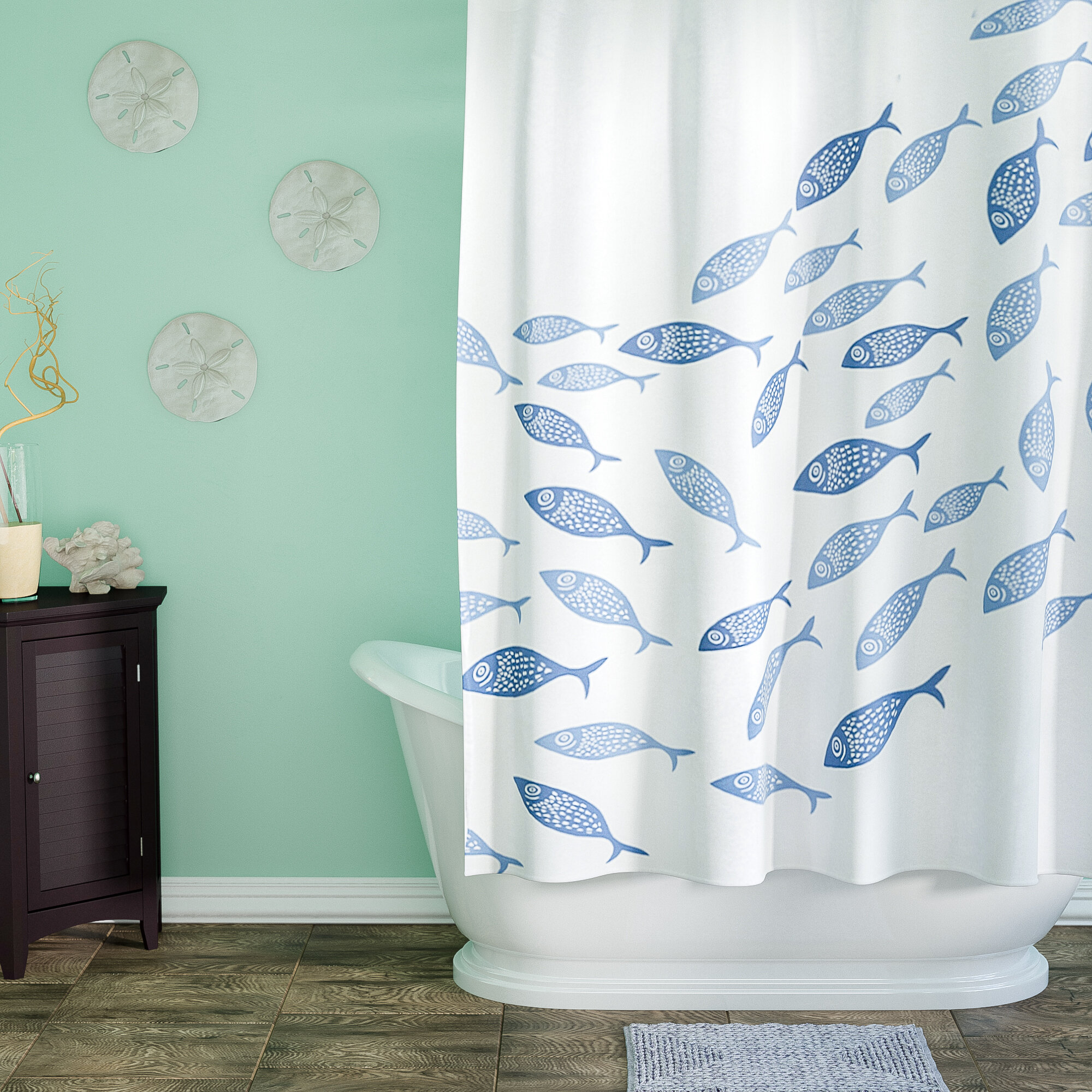 Shower Curtain Extra Long//Wide Undersea Creature Waterproof with 12 Hooks Rings