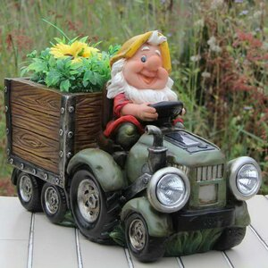 Solar Powered Gnome Truck Statue