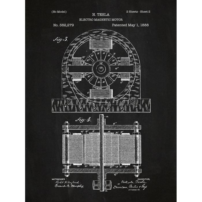 Inked and screened tesla electro magnetic motor blueprint graphic tesla electro magnetic motor blueprint graphic art malvernweather Choice Image