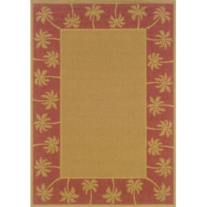 Goldenrod Beige/Red Indoor/Outdoor Area Rug
