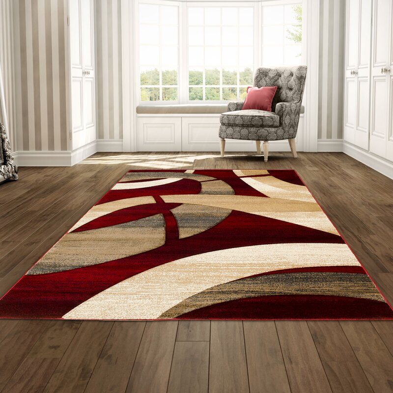 George Oliver Mirabal Abstract Red Tan Area Rug Reviews Wayfair