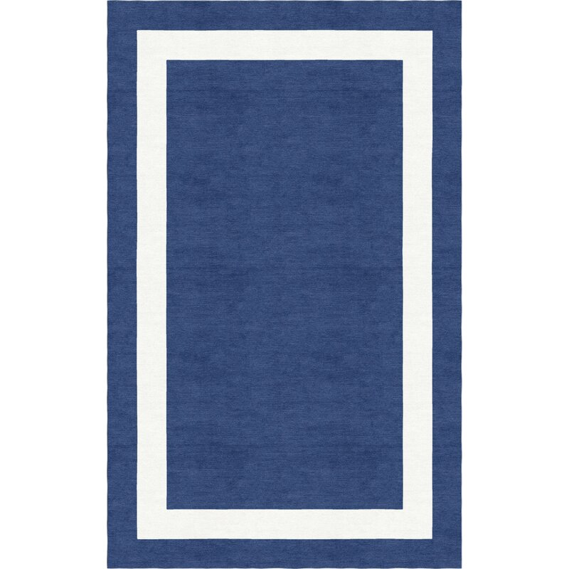 Red Barrel Studio Harlem Border Hand Tufted Wool Navy Blue