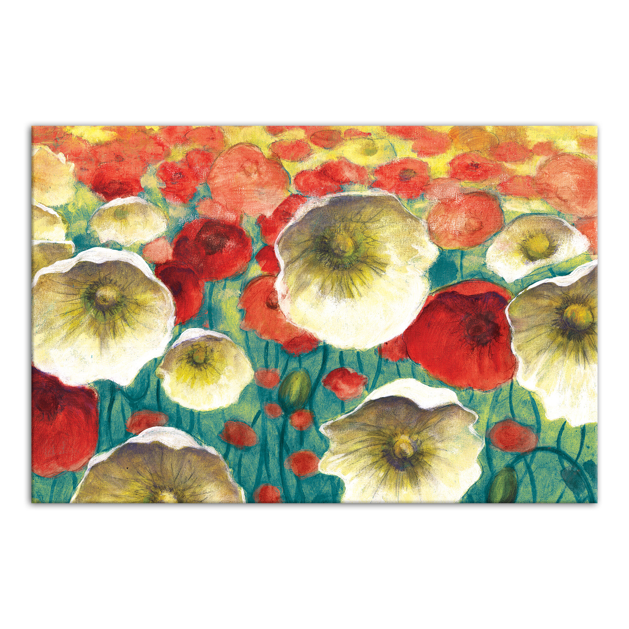 Red Barrel Studio Poppies Framed Acrylic Painting Print On Canvas