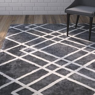 Compare prices Elks Diamond Dogs Charcoal Area Rug By Brayden Studio