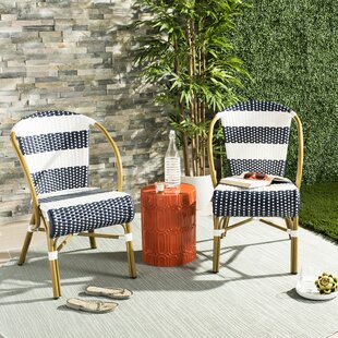 Ouatchia French Stacking Patio Dining Chair (Set of 2)