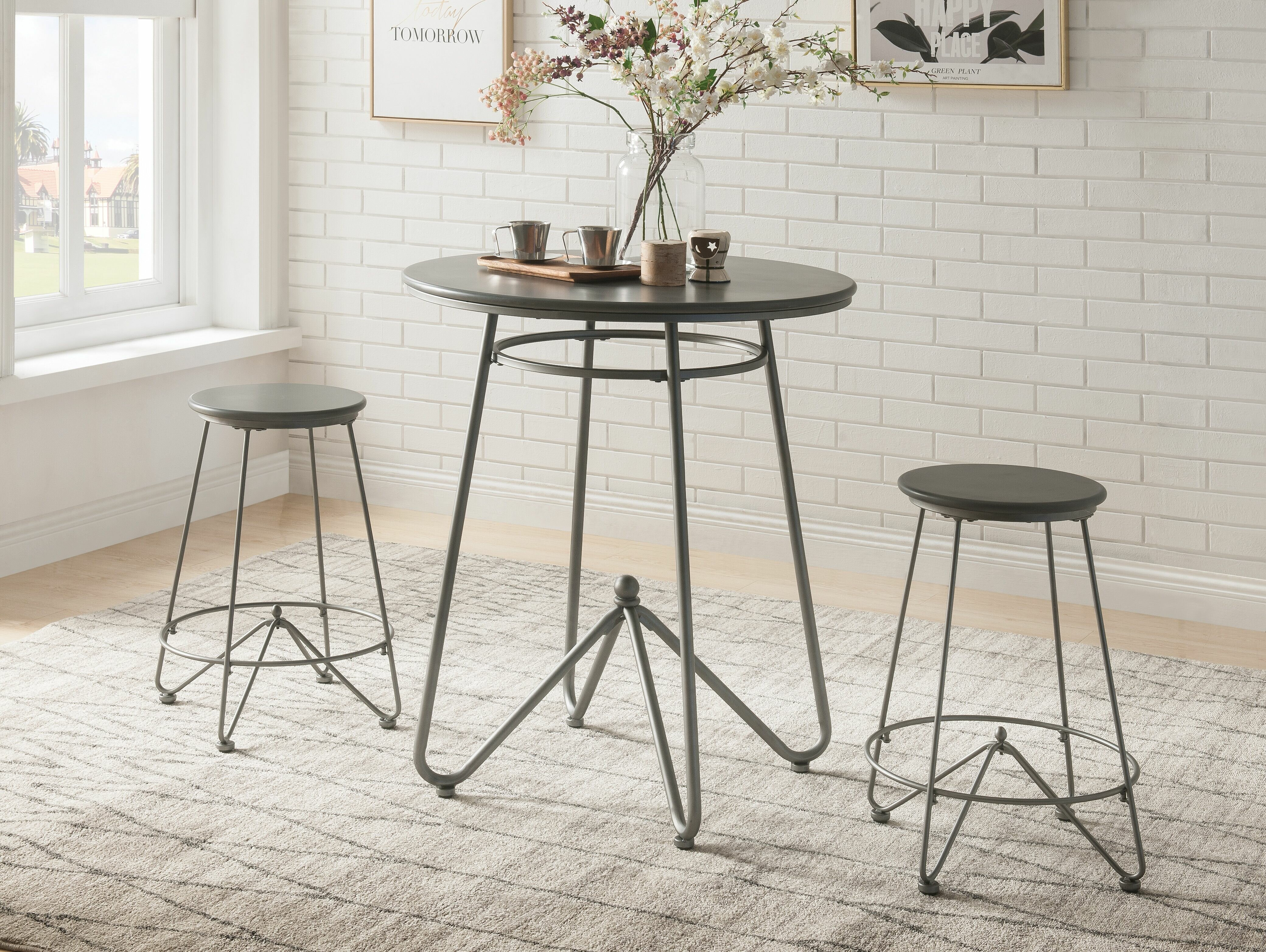 Picture of: Foundry Select 3pc Round Top Metal Base Dining Table Set In Gray Oak And Sandy Gray Finish Wayfair