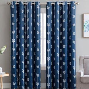 Brendle Geometric Blackout Thermal Grommet Curtain Panels (Set of 2)