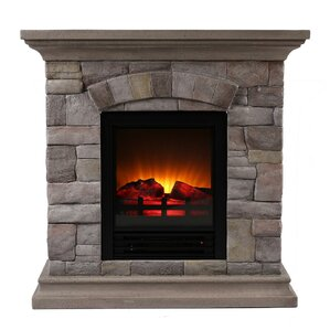 Portable Faux Stone Electric Fireplace by OK Lighting
