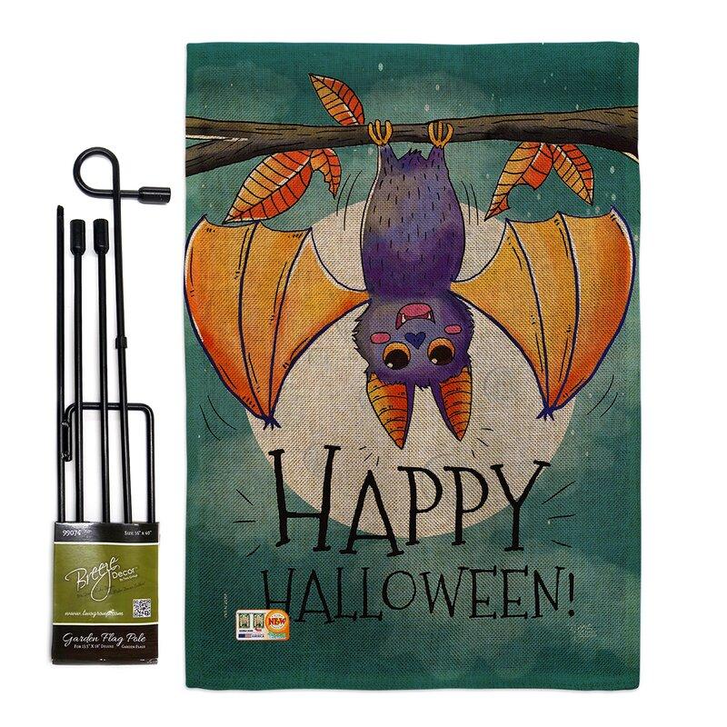 Breeze Decor Happy Halloween Bat Fall Impressions 2 Sided Polyester 18 5 X 13 In Flag Set Wayfair