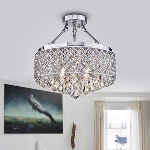 Read Reviews Viola 4-Light Semi Flush Mount By Warehouse of Tiffany