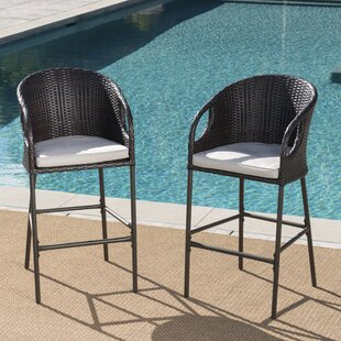 Spaeth Patio Bar Stool with Cushion (Set of 2)