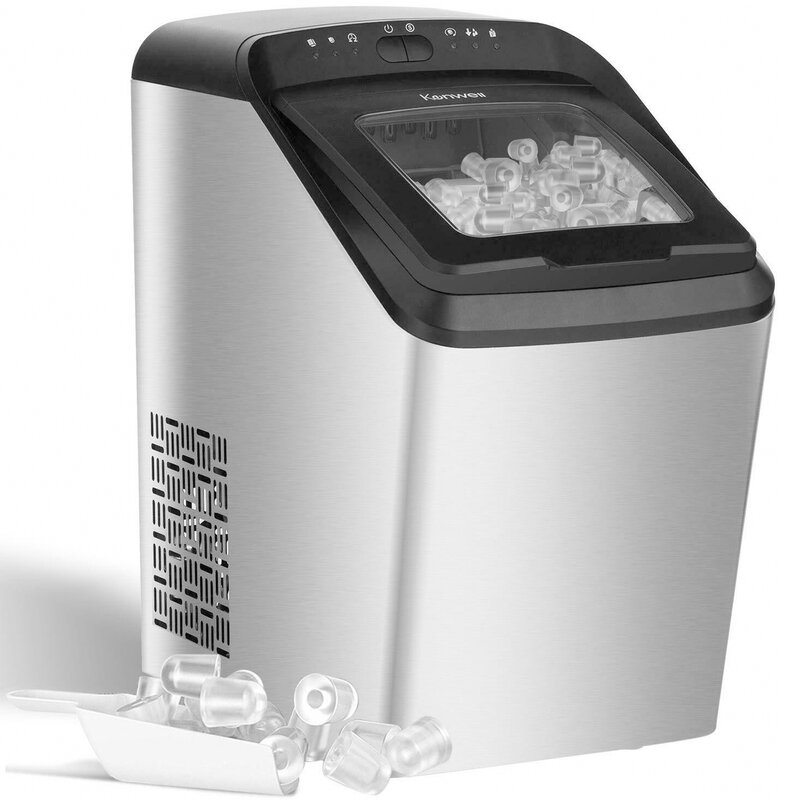 KUPPET Bullet Shaped Cube Countertop 33 lb. Daily Production Portable Clear Ice Maker