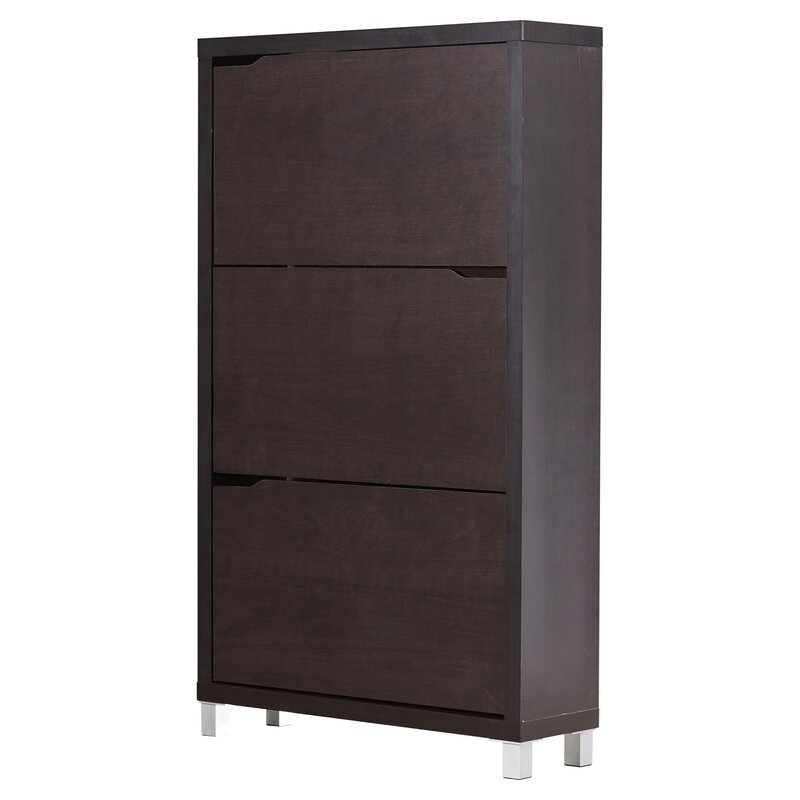 18 Pair Wood Shoe Storage Cabinet