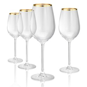 Gold Band Red 17 oz Wine Glass, Set of 4 (Set of 4)