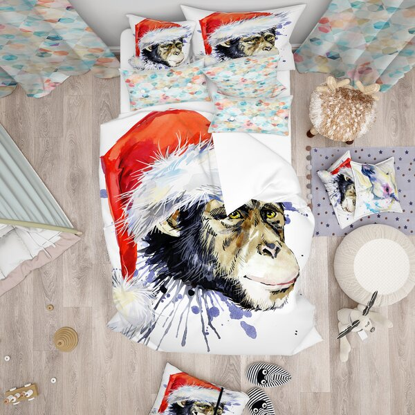 East Urban Home Designart Monkey Santa Clause Duvet Cover Set Wayfair