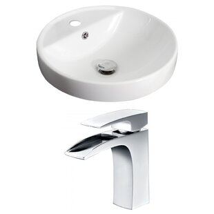 American Imaginations Ceramic Circular Drop-In Bathroom Sink with Faucet and Overflow