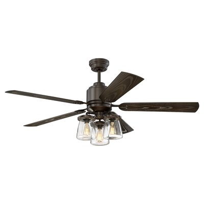 17 Stories 52 inch Luke Hangdown 5 Blade Smart Ceiling Fan with Remote Light Kit Included