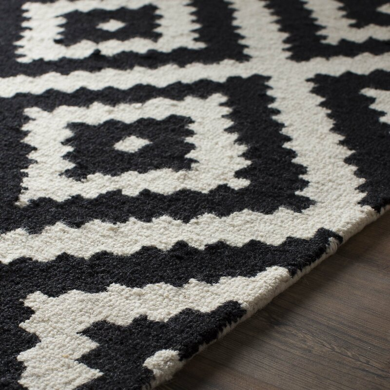Black Area Rugs mercury row obadiah hand-tufted black area rug & reviews | wayfair