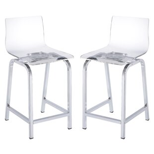 New Britain Acrylic 24 Swivel Bar Stool (Set of 2) Everly Quinn