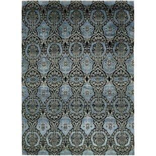 One-of-a-Kind Easton Hand-Knotted 7'6 x 10'4 Silk Blue/Black Area Rug Isabelline