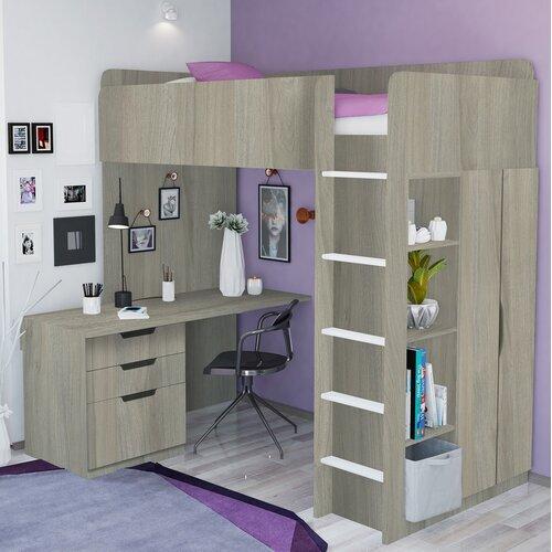 Hochbett mit Regal und Schreibtisch | Kinderzimmer > Kinderbetten | Grau/grau | Holz - Teilmassiv | Polini Kids