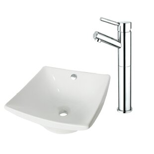 Kingston Brass Ceramic Square Vessel Bathroom Sink with Faucet and Overflow