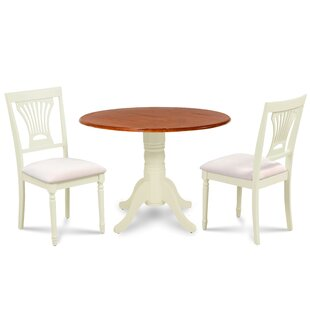 Chesterton 3 Piece Drop Leaf Solid Wood Dining Set by Alcott Hill
