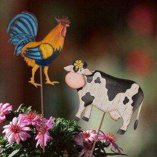 Farm Theme Iron Cow/Rooster 2 Piece Garden Stake Set by Glitzhome