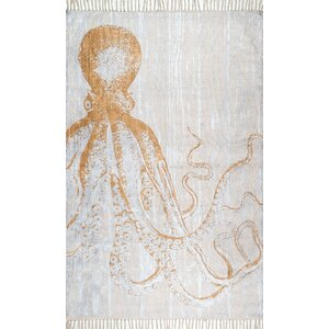Thomas Paul Handmade Cotton Ivory/Orange Area Rug