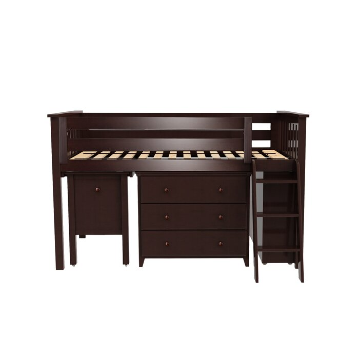 Rolph Twin Low Loft Bed with 2 Dressers and Pull Out Desk