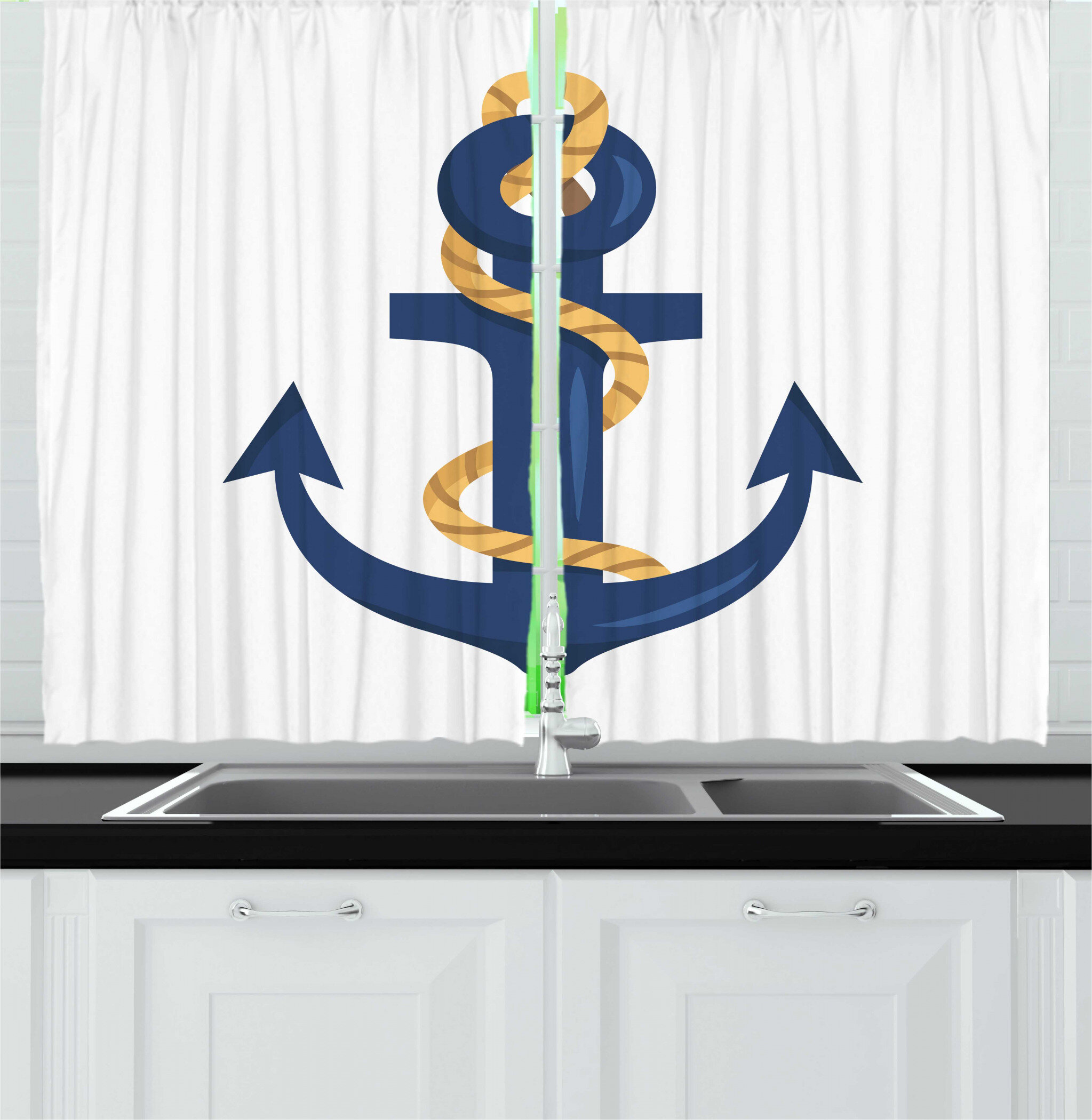 East Urban Home 2 Piece Navy White Nautical Themed Graphic Of Cartoon Dark Sky Blue Colored Anchor With Rope Kitchen Curtain Set Wayfair