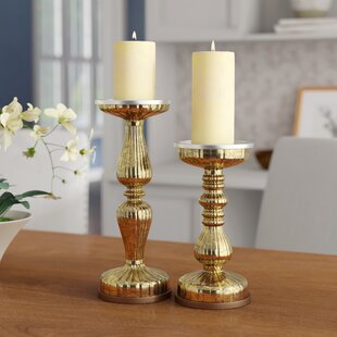 Lit Pillar Centerpiece 2 Piece Glass Candlestick Set