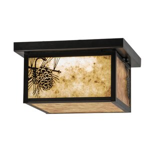 Meyda Tiffany Hyde Park Winter Pine LED 4-Light Flush Mount