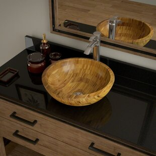 MR Direct Bamboo Circular Vessel Bathroom Sink with Faucet