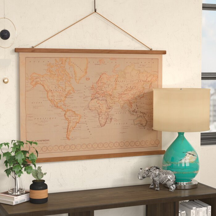 Bungalow rose canvas printed world map wall hanging reviews canvas printed world map wall hanging gumiabroncs Gallery