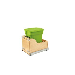 Rev-A-Shelf Wood Bottom Mount Kitchen Compost 6 Gallon Pull Out/Under Counter Trash Can Compactor