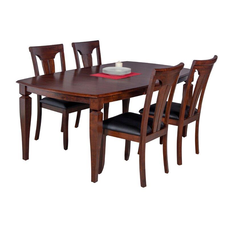 Besse 5 Piece Breakfast Nook Solid Wood Dining Set