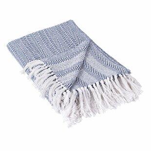 Poff Herringbone Stripe Cotton Throw
