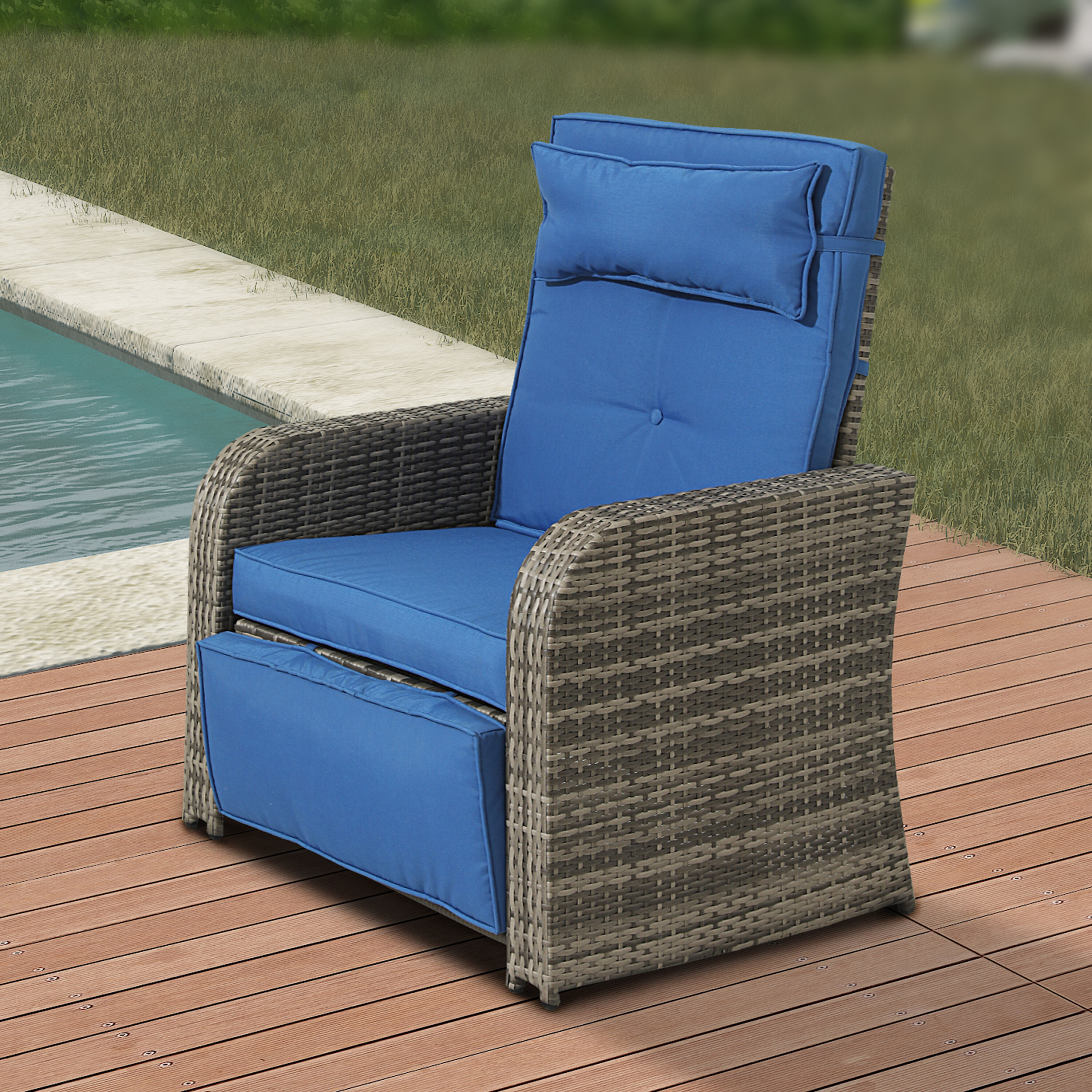Picture of: Breakwater Bay Bonomo Outdoor Recliner Patio Chair With Cushions Reviews Wayfair