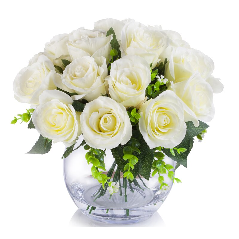 18 Heads Roses Floral Arrangement and Centerpiece in Vase