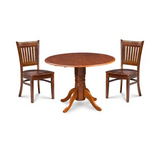 Miriam 3 Piece Drop Leaf Solid Wood Dining Set by Breakwater Bay Today Sale Only