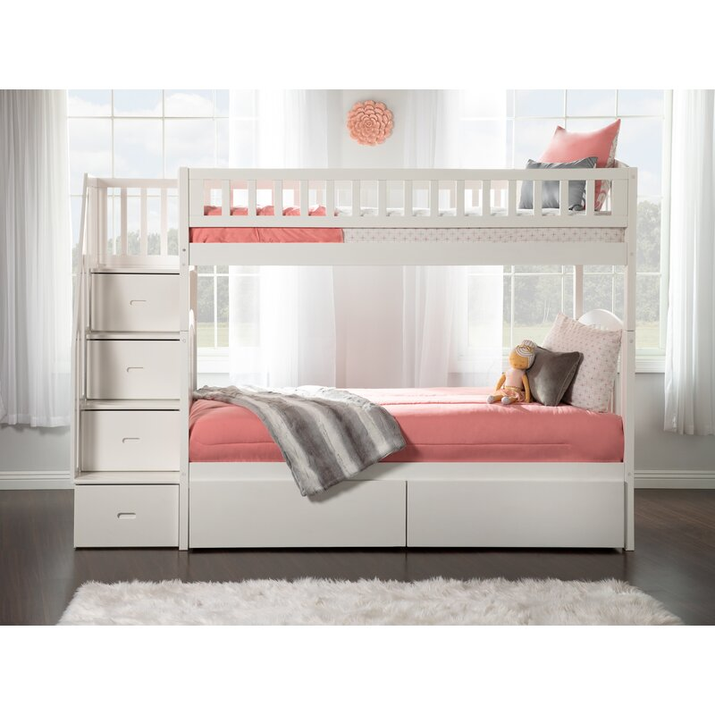 Harriet Bee Simmons Staircase Bunk Twin Over Twin Bed With Drawers