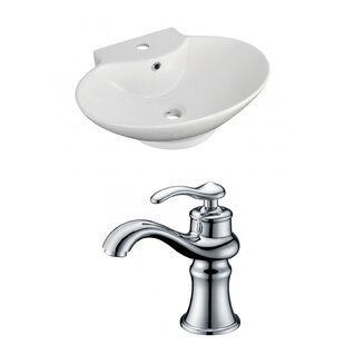 Affordable Ceramic 23 Wall-Mount Bathroom Sink with Faucet and Overflow ByRoyal Purple Bath Kitchen