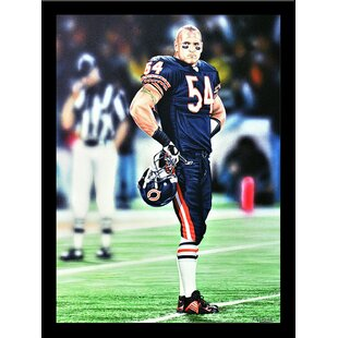 'Brian Urlacher Chicago Bears' Print Poster by Darryl Vlasak Framed Memorabilia by Buy Art For Less