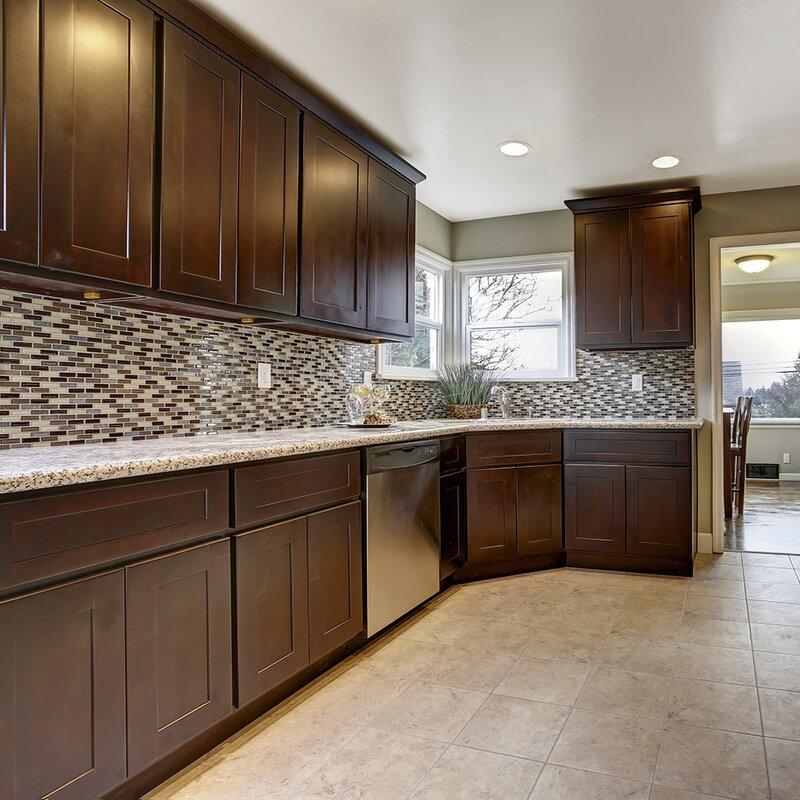 Ebern Designs Frits Unassembled Shaker Base Kitchen Cabinet 18x34 5x24 Espresso