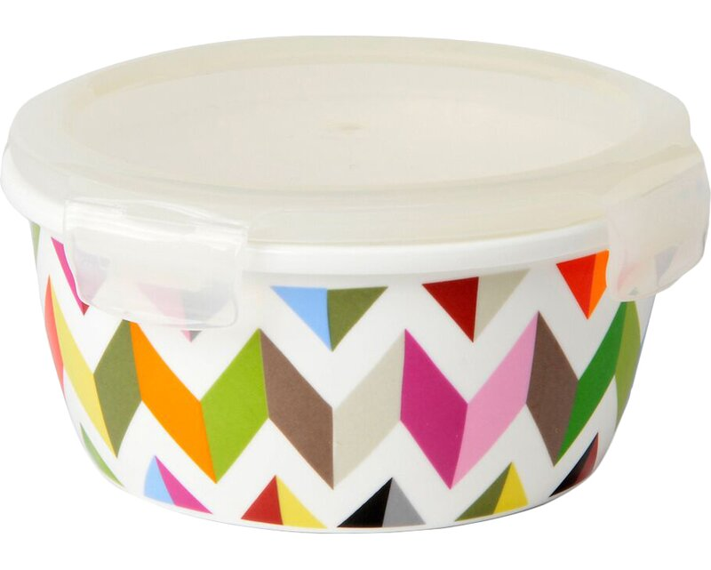 French Bull Ziggy Round Porcelain 20 Oz. Food Storage Container